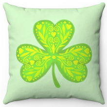 "Load image into Gallery viewer, Three Leaf Clover 18"" Or 20"" Square Throw Pillow Cover"