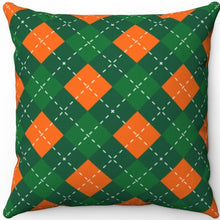 "Load image into Gallery viewer, St. Patrick's Day Green & Orange Argyle Pattern 16"" Or 18"" Square Throw Pillow"