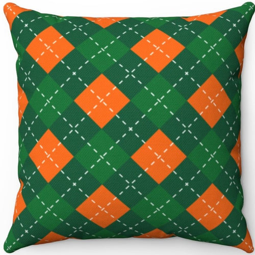 St. Patrick's Day Green & Orange Argyle Pattern 16