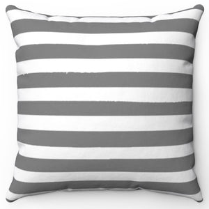 "Grey Texture Stripes 16"" Or 18"" Square Throw Pillow Cover"