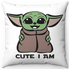 "Load image into Gallery viewer, Baby Yoda 18"" x 18"" Throw Pillow Cover"