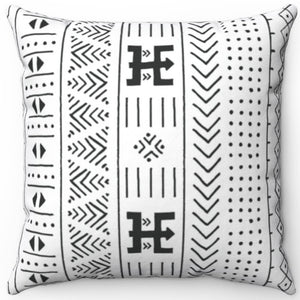"Mudcloth Patterned Black & White 16"" 18"" Or 20"" Square Throw Pillow Cover"