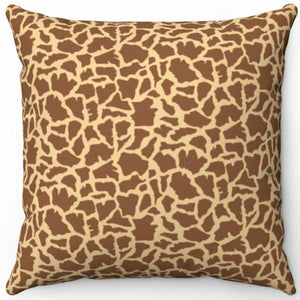 "Wild Giraffe Print Pattern 16"" Or 18"" Square Throw Pillow"