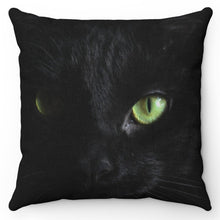 "Load image into Gallery viewer, Black As Coal Green Eyed Cat 18"" x 18"" Throw Pillow Cover"