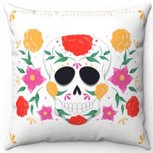 "Load image into Gallery viewer, Sugar Skull On White 16"" Or 18"" Square Throw Pillow Cover"