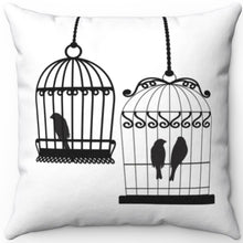 "Load image into Gallery viewer, Two Bird Cages Black On White 16"" 18"" Or 20"" Square Throw Pillow Cover"