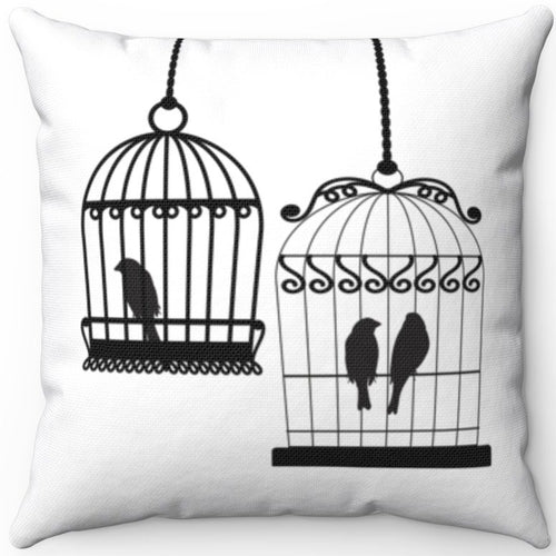 Two Bird Cages Black On White 16
