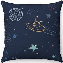 "Load image into Gallery viewer, Colorful Space Planets 18"" x 18"" Square Throw Pillow"