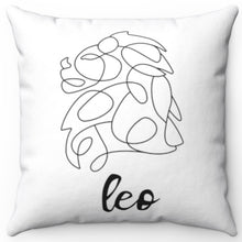 "Load image into Gallery viewer, Leo Black & White Printed Design 16"" x 16"" Square Throw Pillow Cover"