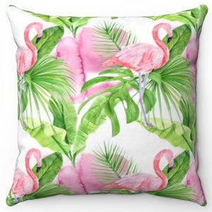 "Pink Flamingo 18"" Or 20"" Square Throw Pillow Cover"