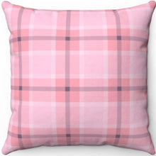 "Load image into Gallery viewer, Pink & Grey Easter Plaid 16"" Or 18"" Square Throw Pillow"