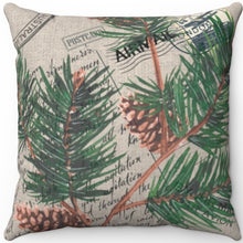 "Load image into Gallery viewer, Vintage Love Letter & Pine Cones 16"" 18"" Or 20"" Square Throw Pillow Cover"