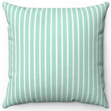 "Load image into Gallery viewer, Pin Stripes In Aquamarine 16"" Or 18"" Square Throw Pillow Cover"