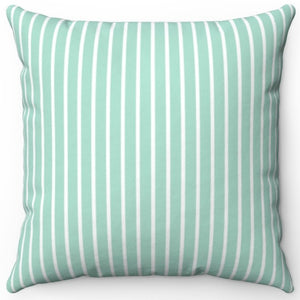 "Pin Stripes In Aquamarine 16"" Or 18"" Square Throw Pillow Cover"