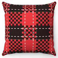 "Load image into Gallery viewer, Black Red & White Buffalo Plaid 18"" Or 20"" Throw Pillow Cover"