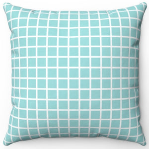 "Grid Pattern Aquatic Center Tile 16"" Or 18"" Square Throw Pillow Cover"