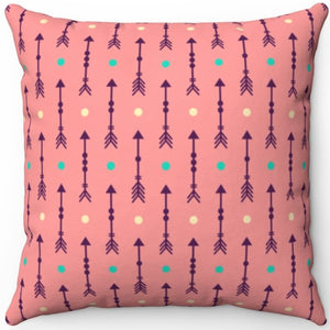 "Dark Pink Abstract Boho Arrows With Fletching 16"" 18"" Or 20"" Square Throw Pillow Cover"