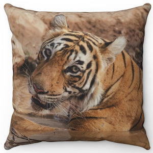 "Mighty Muddy Tiger 16"" Or 18"" Square Throw Pillow"