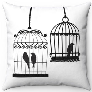 "Two Bird Cages Black On White 16"" 18"" Or 20"" Square Throw Pillow Cover"