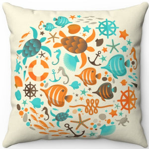 "Summer Vacation By The Sea 16"" 18"" Or 20"" Square Throw Pillow Cover"