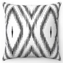 "Load image into Gallery viewer, Bohemian Double Diamonds Black & White 18"" x 18"" Throw Pillow Cover"
