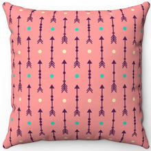 "Load image into Gallery viewer, Dark Pink Abstract Boho Arrows With Fletching 16"" 18"" Or 20"" Square Throw Pillow Cover"