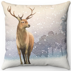 "Deer In Winter 16"" 18"" Or 20"" Square Throw Pillow Cover"