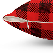 "Load image into Gallery viewer, He Sees You When You're Sleeping On Buffalo Plaid 16"" Or 18"" Square Pillow"