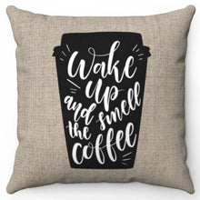 "Load image into Gallery viewer, Wake Up & Smell The Coffee Burlap 18"" Or 20"" Square Throw Pillow Cover"