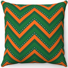 "Load image into Gallery viewer, St. Patrick's Day Green & Orange Chevron Pattern 16"" Or 18"" Square Throw Pillow"