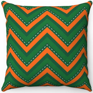 "St. Patrick's Day Green & Orange Chevron Pattern 16"" Or 18"" Square Throw Pillow"