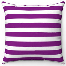 "Load image into Gallery viewer, Purple Texture Stripes 16"" Or 18"" Square Throw Pillow Cover"