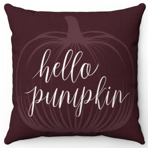 "Hello Pumpkin 18"" Or 20"" Square Throw Pillow Cover"