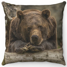"Load image into Gallery viewer, Gentle Giant Grizzly Bear 16"" Or 18"" Square Throw Pillow"
