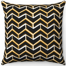 "Load image into Gallery viewer, Fancy Black & Gold Boho Arrows 16"" 18"" Or 20"" Square Throw Pillow Cover"