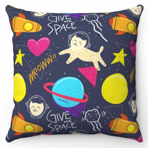 "Cats Give Me Space 18"" x 18"" Throw Pillow Cover"