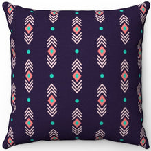 "Load image into Gallery viewer, Pastel Abstract Navy Boho Pattern 16"" 18"" Or 20"" Square Throw Pillow Cover"
