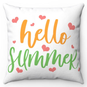 "Hello Summer Pink Hearts 18"" x 18"" Throw Pillow Cover"