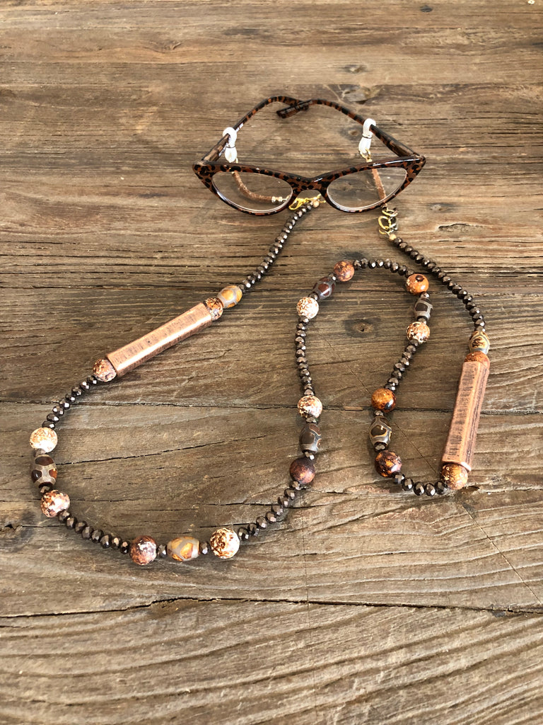 Bellissimo Luxe Bronze Eyeglass Necklace