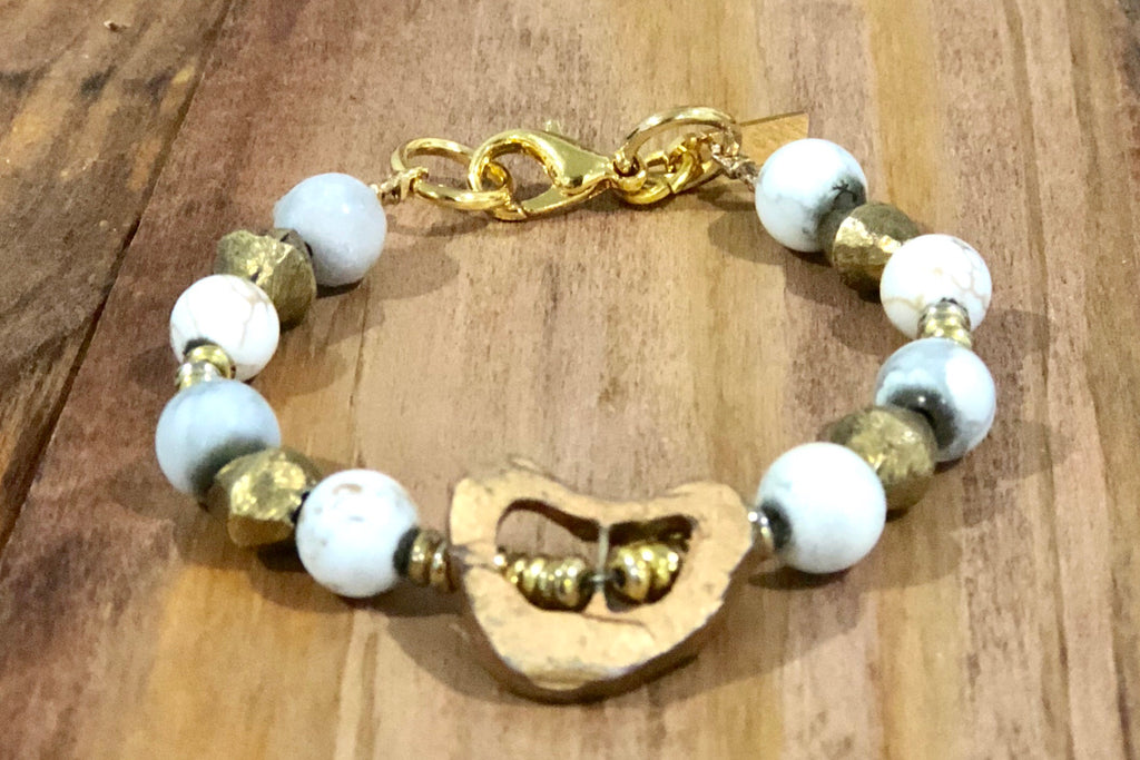 bone healing bracelet with magnesite and ethiopian brass beads - Coccinella