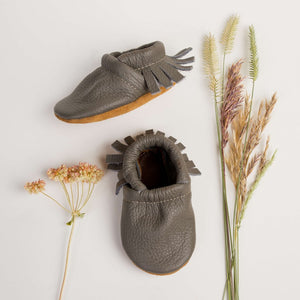 Leather Moccasins - True Grey