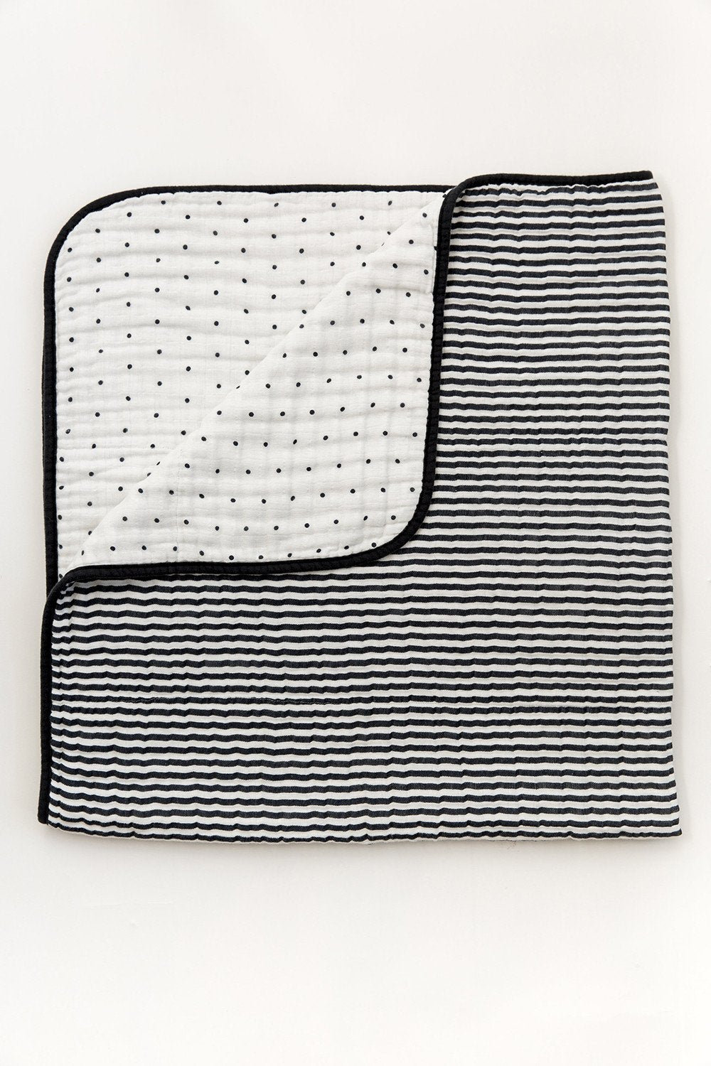 Black & White Stripe Reversible Quilt
