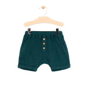 Crinkle Cotton Boy Short - Teal