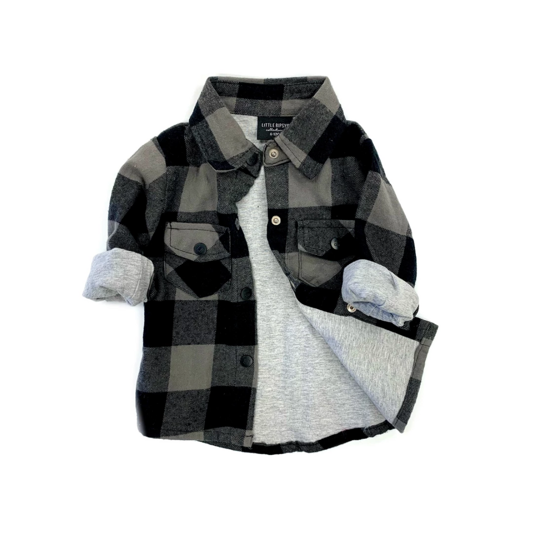 Buffalo Plaid Flannel - Grey