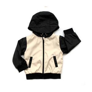 Windbreaker Jacket - Black + Beige