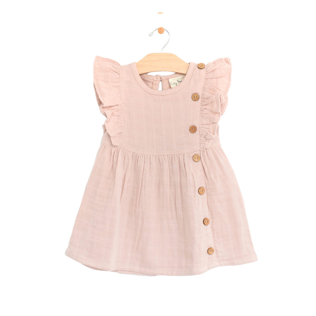 Muslin Side Flutter Button Dress - Peach Blossom