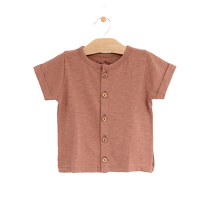 Button Down Boy Tee - Clay