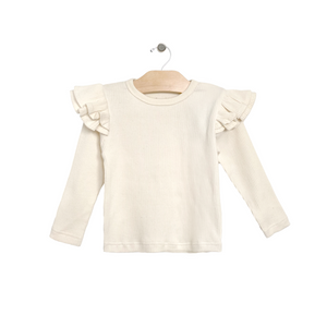 Flutter Sleeve Ribbed Tee - Natural