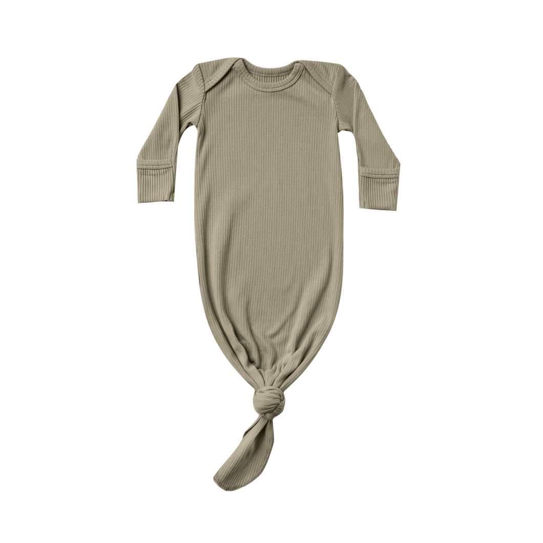 Ribbed Baby Gown - Olive