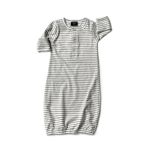 Baby Gown - Grey Stripes